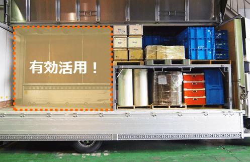 トラックデッキを使って荷物を段積みしている